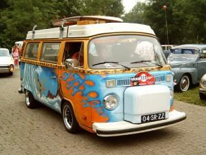 camper van on the road